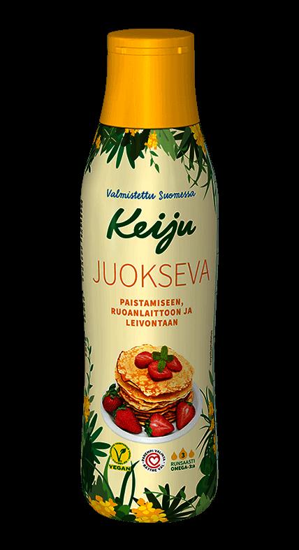 Keiju Juokseva rypsiöljyvalmiste on helppokäyttöinen tuote paistamiseen, leivontaan ja ruoanlaittoon